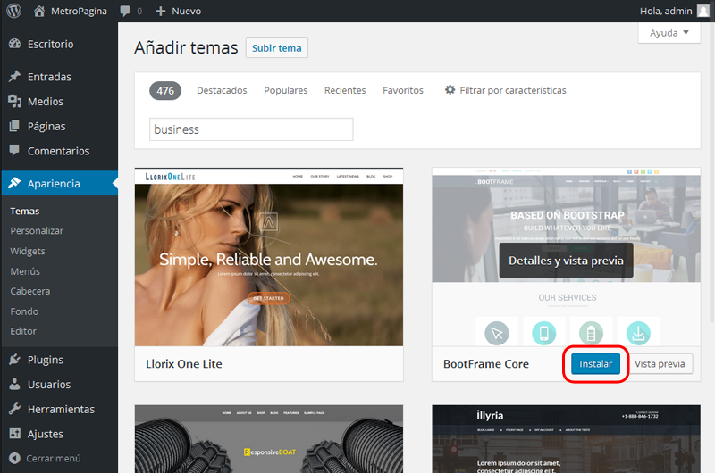 instalar-wordpress-tema