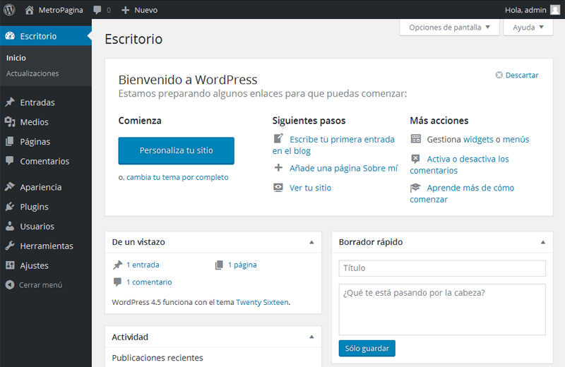 panel-de-WordPress